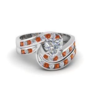 Orange Sapphire Ring And Band