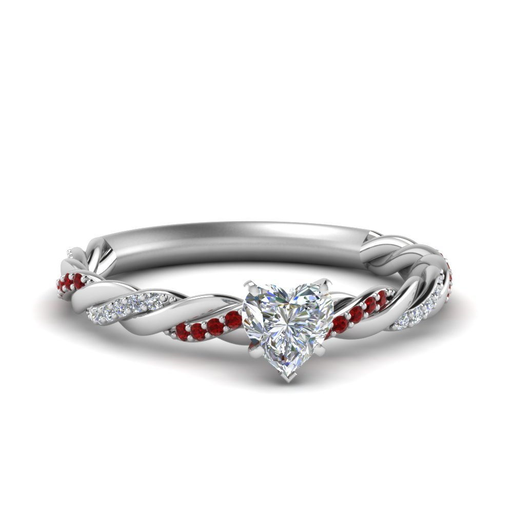 Twisted Delicate Heart Shaped Diamond Engagement Ring With Ruby In 18K White Gold