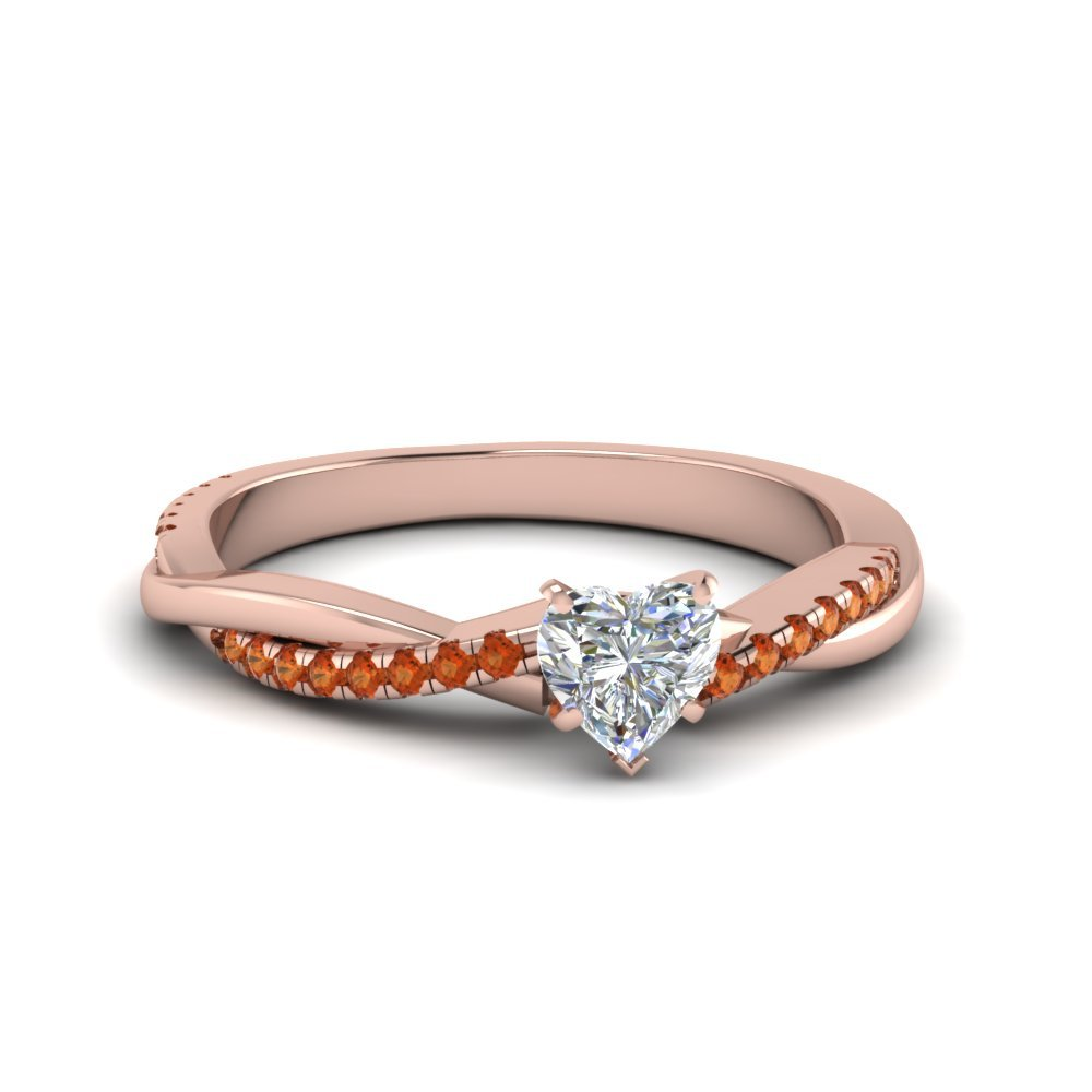 Heart Shaped Twisted Vine Diamond Ring With Orange Sapphire In 14K Rose Gold