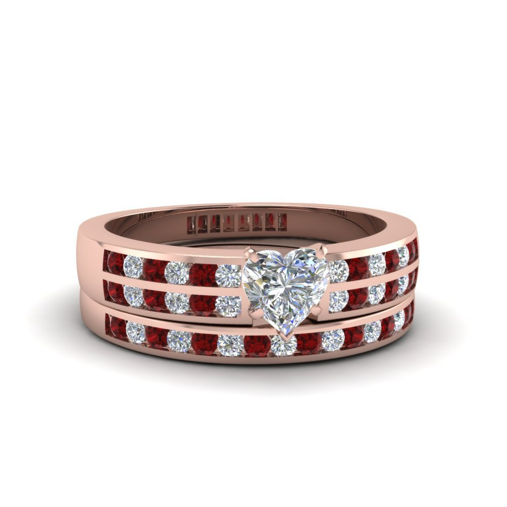 Heart Shaped Two Row Channel Diamond Bridal Set With Ruby In 18K Rose Gold