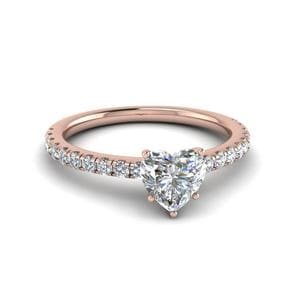 Heart Shaped U Prong Diamond Ring In 18K Rose Gold