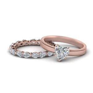 Solitaire Heart Ring And Band