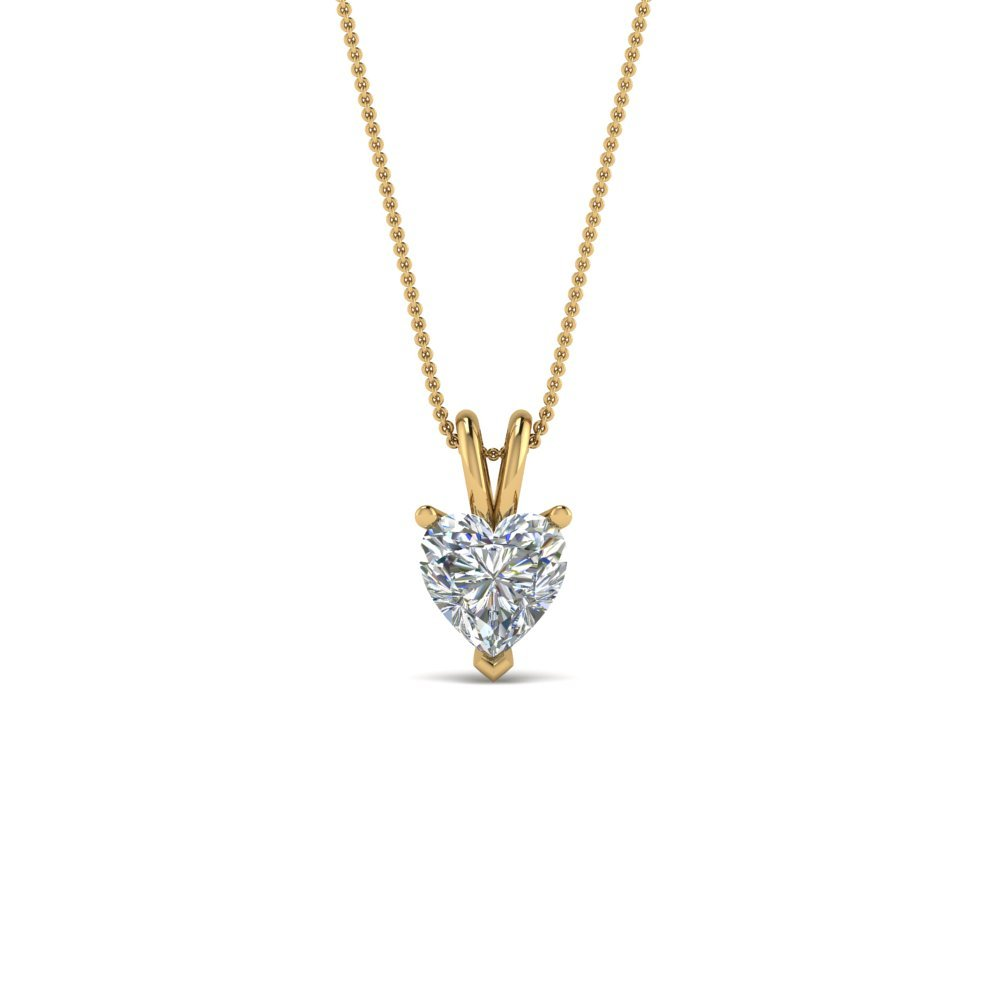 Heart Solitaire Pendant Gift For Her In 14K Yellow Gold