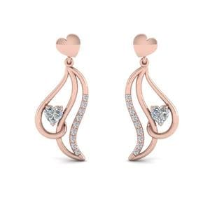 Heart Stud Drop Diamond Earring For Women In 14K Rose Gold