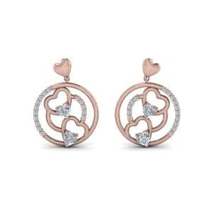 Heart Stud Drop Small Diamond Earring In 18K Rose Gold