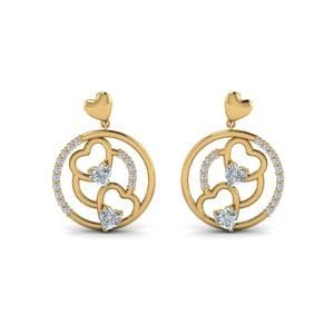 Heart Stud Drop Small Earring Yellow Gold