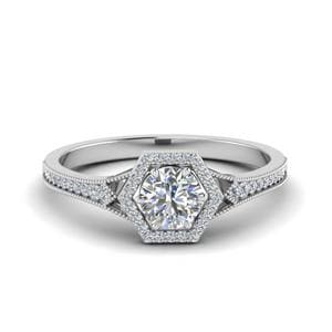 Hexagon Halo Diamond Engagement Ring In 18K White Gold