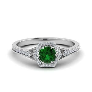 Hexagon Halo Emerald Ring