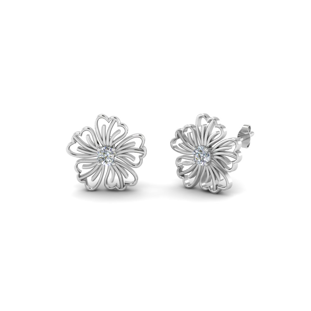 Hibiscus Earring Nature Inspired For Women In 950 Platinum