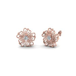 Hibiscus Round Flower Diamond Stud Earring In 14K Rose Gold