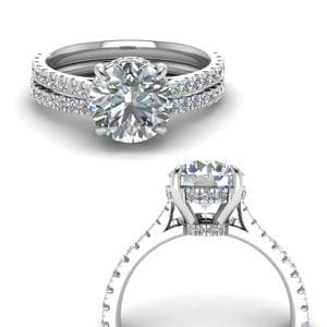 Hidden Halo Pave Wedding Set
