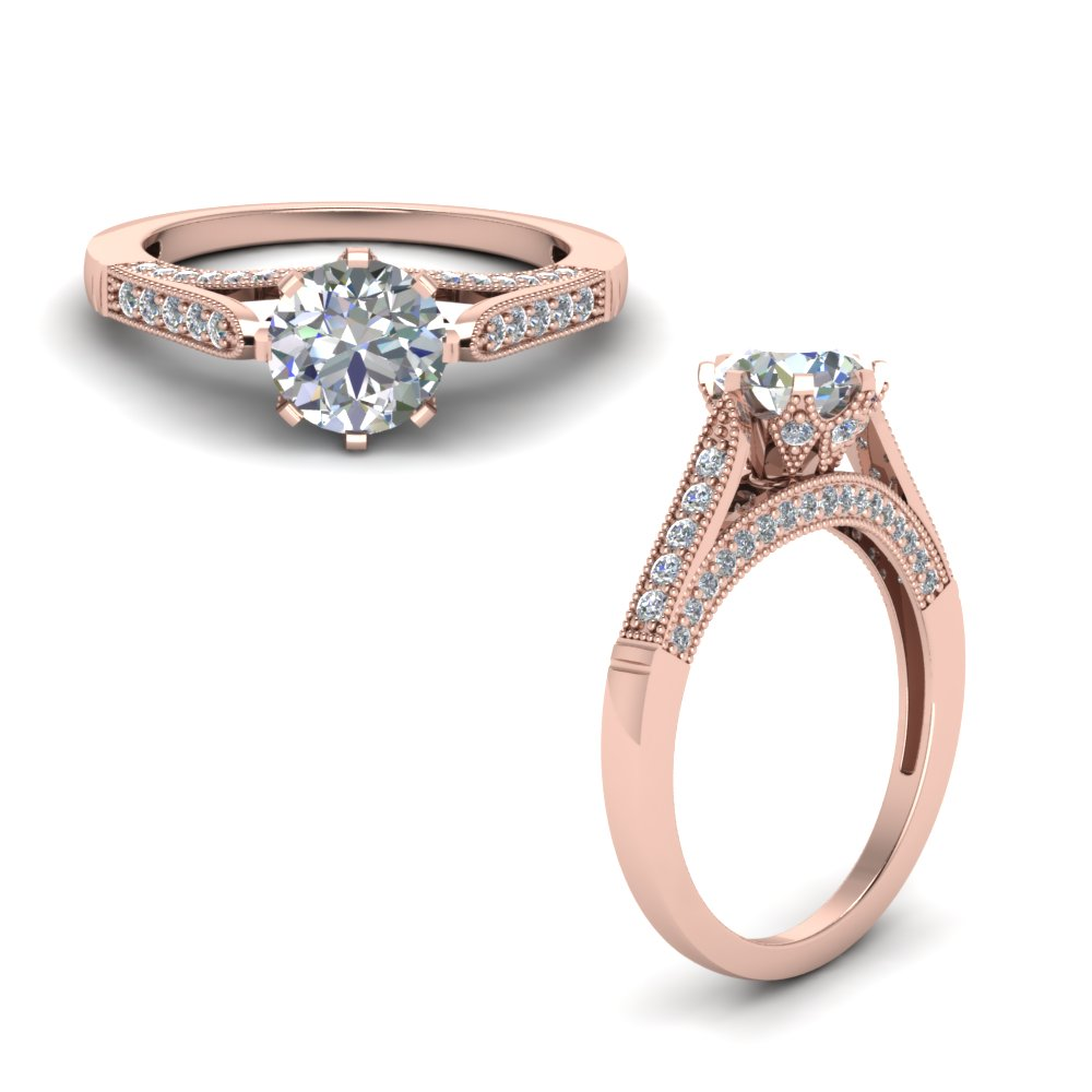 High Set Milgrain Diamond Engagement Ring In 14K Rose Gold