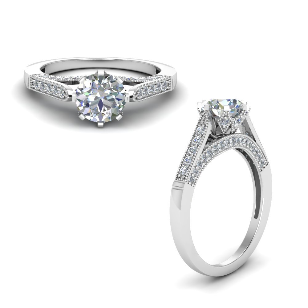 High Set Milgrain Diamond Engagement Ring In 950 Platinum