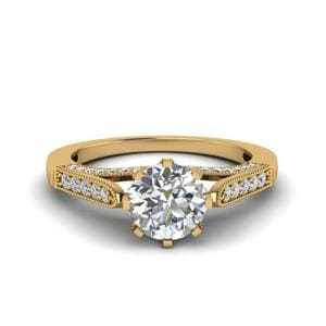 High Set Milgrain Diamond Engagement Ring In 14K Yellow Gold