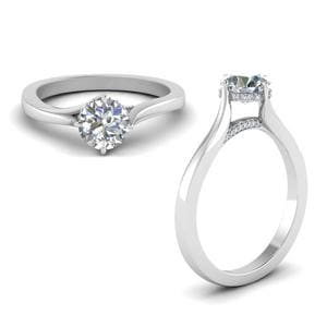 High Setting Round Cut Diamond Ring In 18K White Gold
