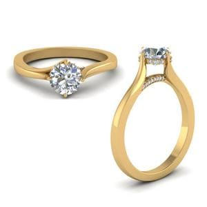 High Setting Round Cut Diamond Ring In 14K Yellow Gold