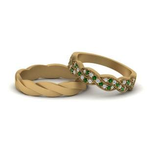 Emerald Matching Band For Him And Her