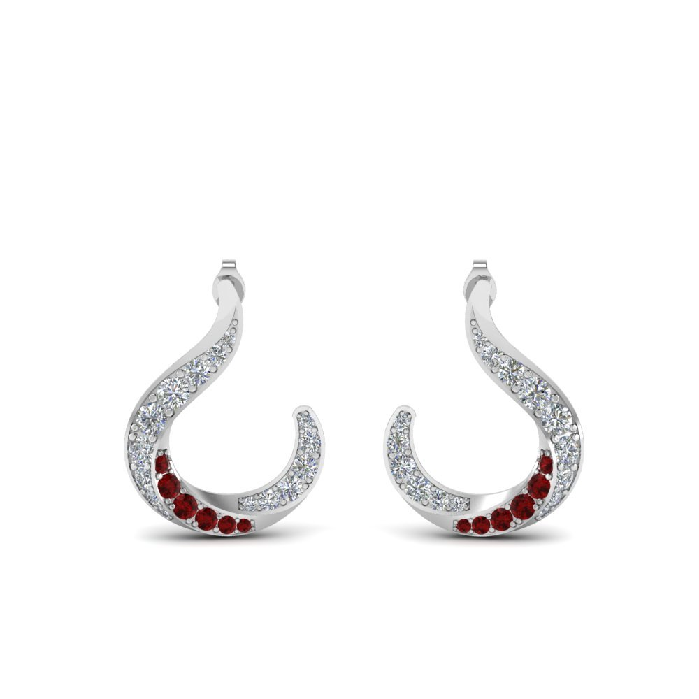 Hook Diamond Earrings With Ruby
