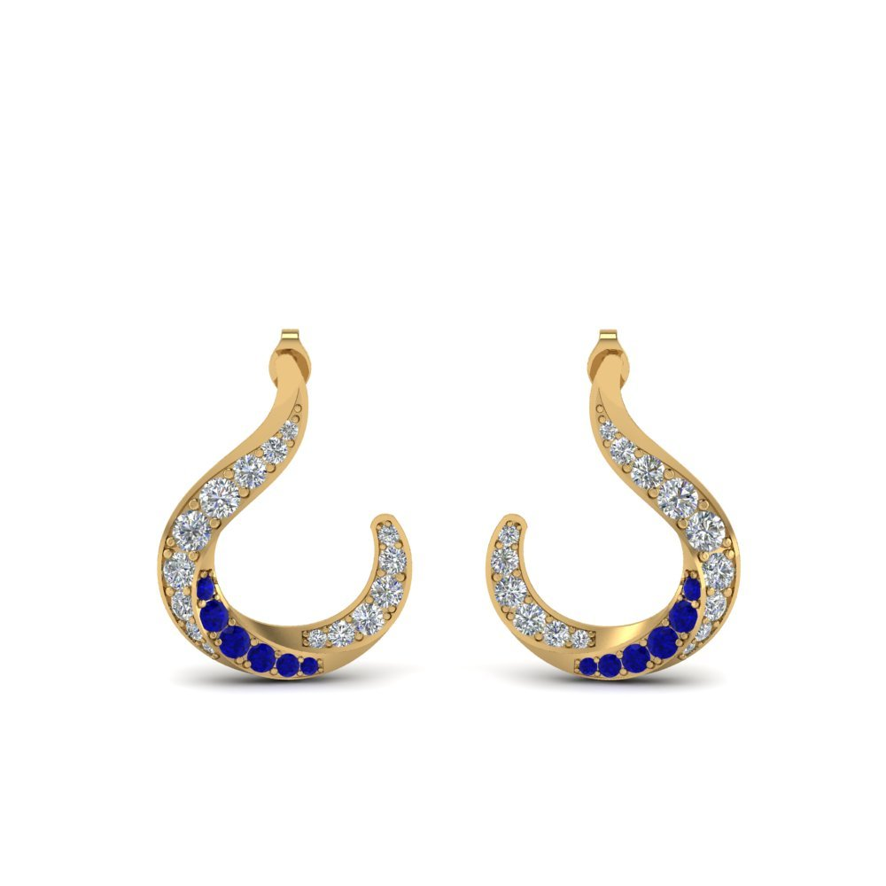 Sapphire With Diamond Stud Earrings