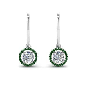Emerald Hoop Drop Halo Earring