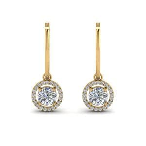 Hoop Drop Diamond Halo Earring In 14K Yellow Gold