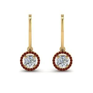 Hoop Drop Halo Ruby Earring