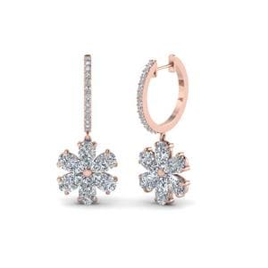 Hoop With Floral Pear Drop Earring In 18K Rose Gold