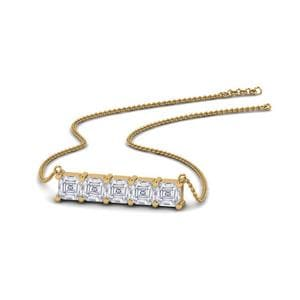 Horizontal Asscher Cut Bar Necklace In 14K Yellow Gold