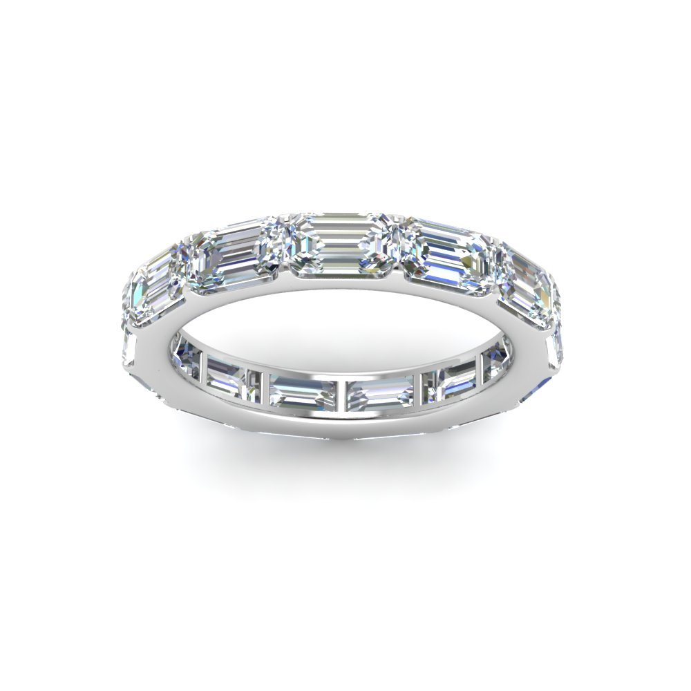 Horizontal Emerald Cut Diamond Eternity Band