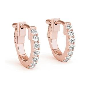 18K Rose Gold Diamond Hoop Earring