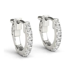 18K White Gold Hoop Diamond Earring