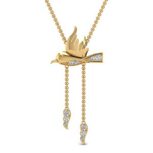 Humming Bird Y Diamond Necklace In 14K Yellow Gold