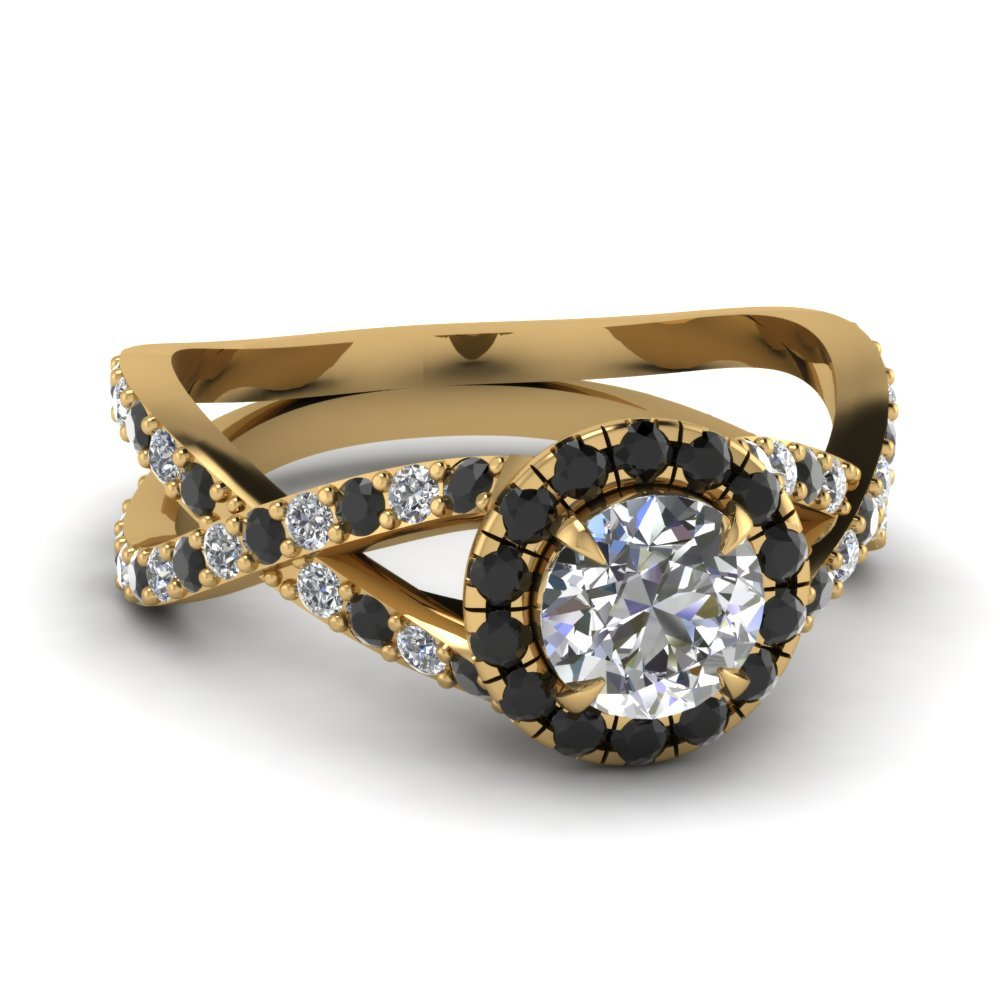 Infinity Black Diamond Halo Round Engagement Ring In 18K Yellow Gold