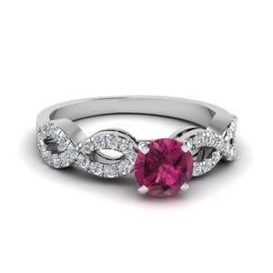 Infinity Pink Sapphire Engagement Ring  In 18K White Gold