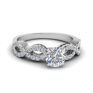 Infinity Diamond Engagement Ring In 14K White Gold
