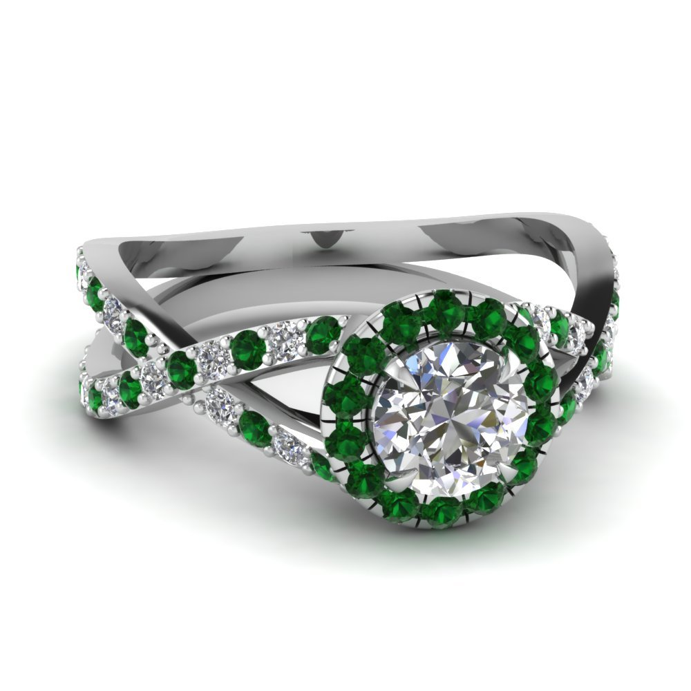 Infinity Emerald Halo Round Diamond Engagement Ring In 18K White Gold