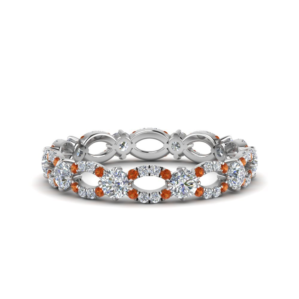 Infinity Eternity orange sapphire Ring
