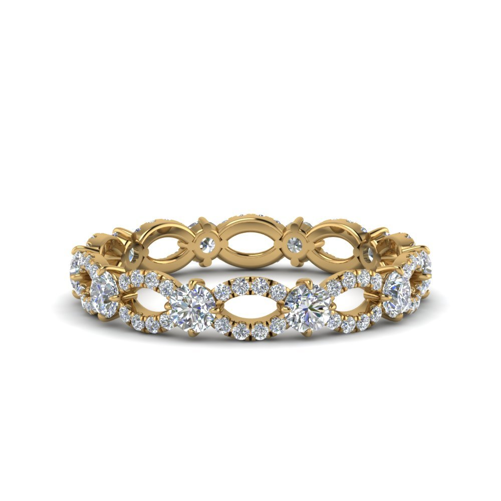 Infinity Eternity Diamond Anniversary Engagement Ring In 14K Yellow Gold