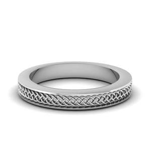 Intertwined Engraved Wedding Band In 14K White Gold