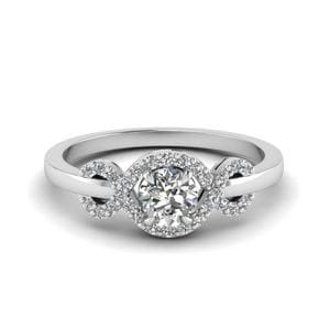 Infinity Halo Round Cut Diamond Engagement Ring In 18K White Gold