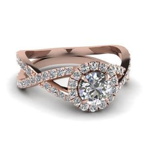 Infinity Halo Round Diamond Engagement Ring In 14K Rose Gold