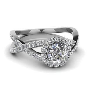 Infinity Halo Round Diamond Engagement Ring In 18K White Gold
