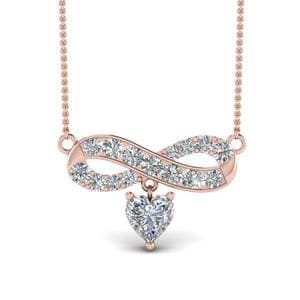 Infinity Heart Drop Necklace Diamond Pendant In 14K Rose Gold