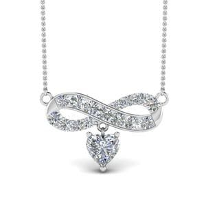 Infinity Heart Drop Necklace Diamond Pendant In 14K White Gold