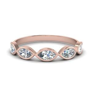 Infinity Marquise Diamond Wedding Band In 18K Rose Gold