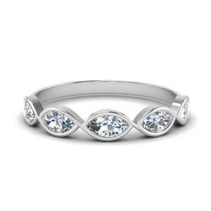 Infinity Marquise Diamond Wedding Band In 14K White Gold