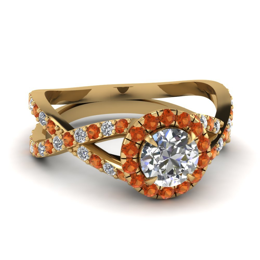 Infinity Orange Sapphire Halo Round Diamond Engagement Ring In 14K Yellow Gold