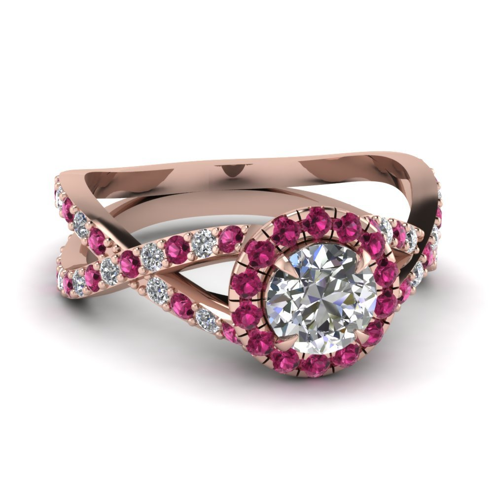 Infinity Pink Sapphire Halo Round Diamond Engagement Ring In 14K Rose Gold