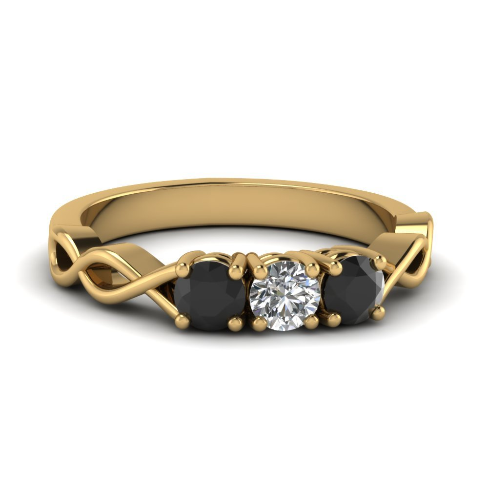 Black Diamond 3 Stone Ring