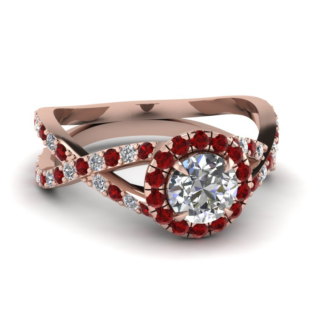Infinity Ruby Halo Round Diamond Engagement Ring In 18K Rose Gold